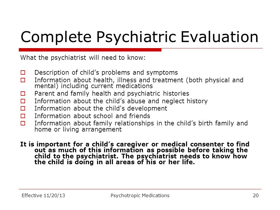 Complete Psychiatric Evaluation