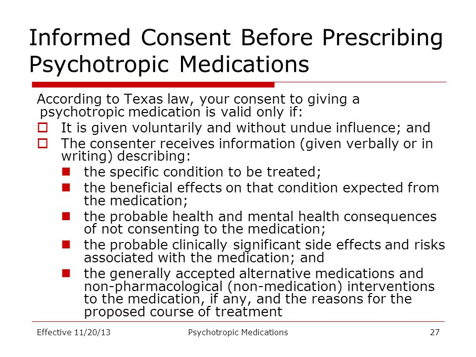 Informed Consent Before Prescribing Psychotropic Medications