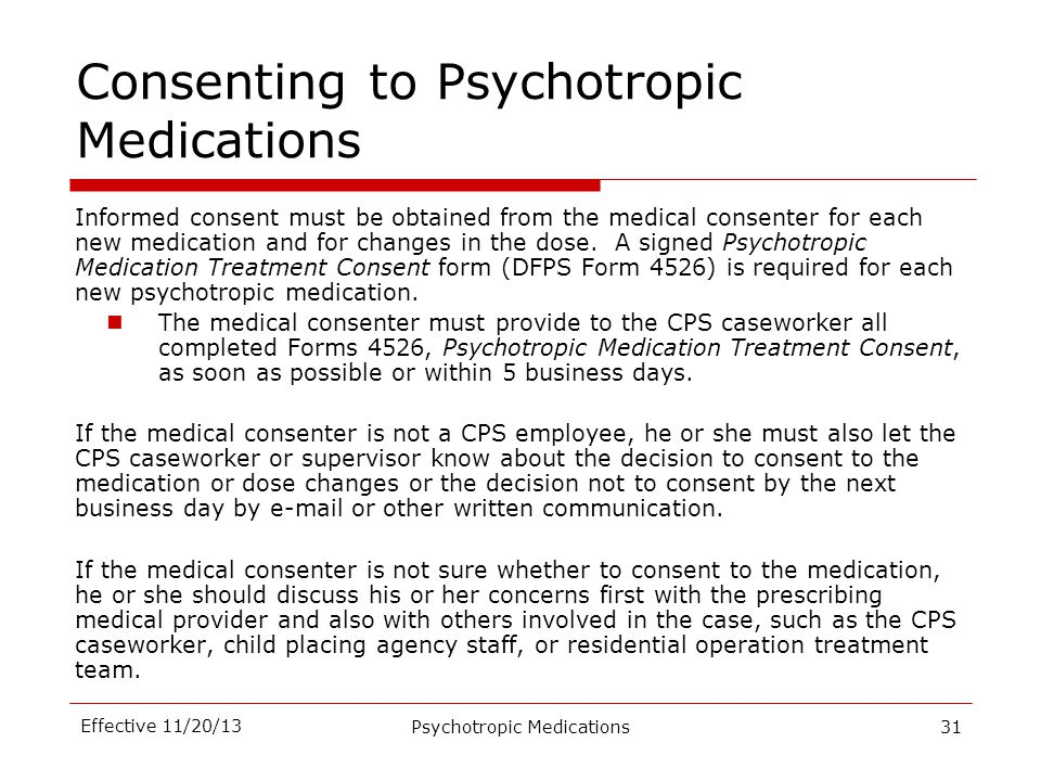 Consenting to Psychotropic Medications