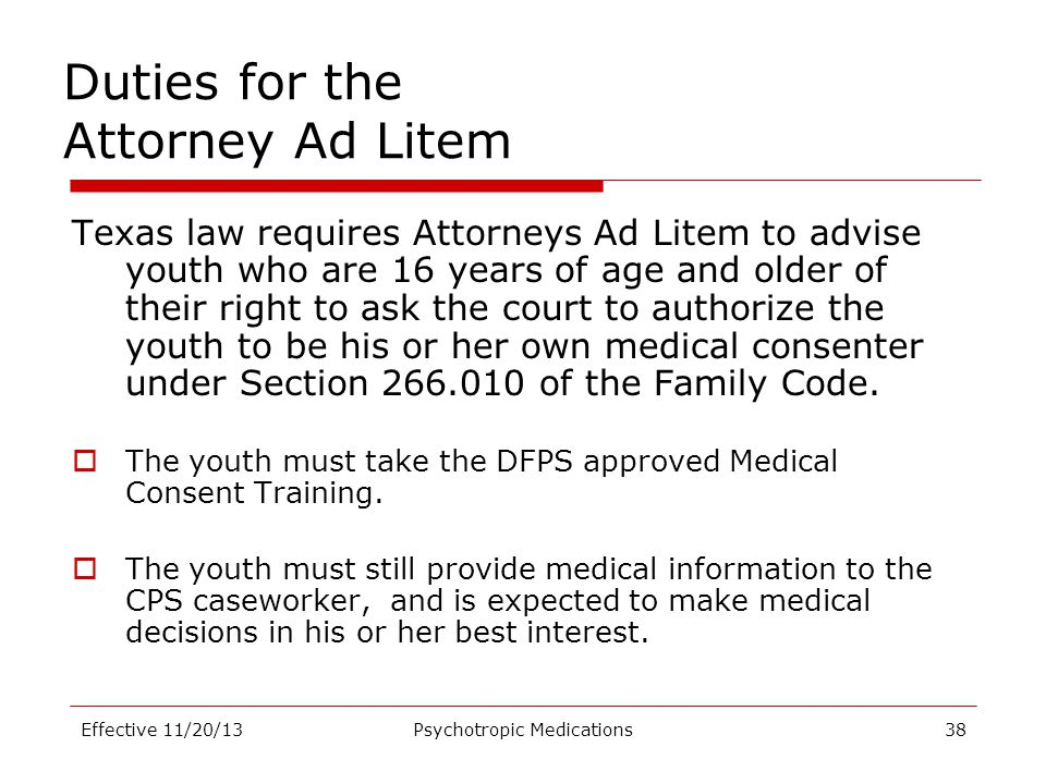 Duties for the Attorney Ad Litem