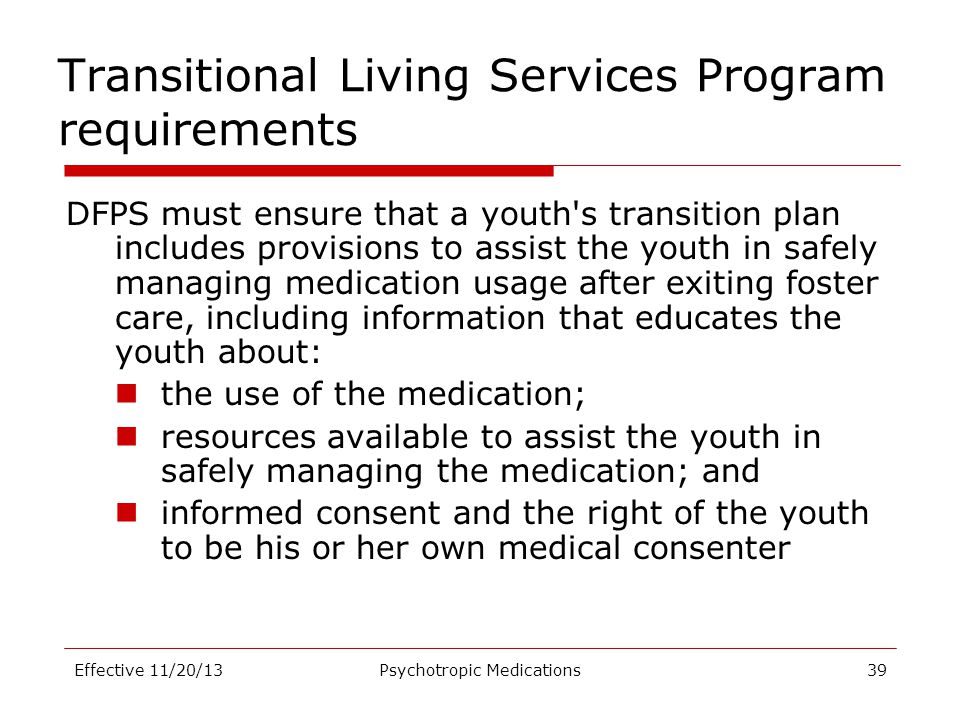 Transitional Living Services Program requirements
