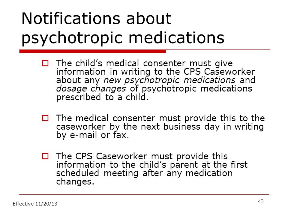 Notifications about psychotropic medications