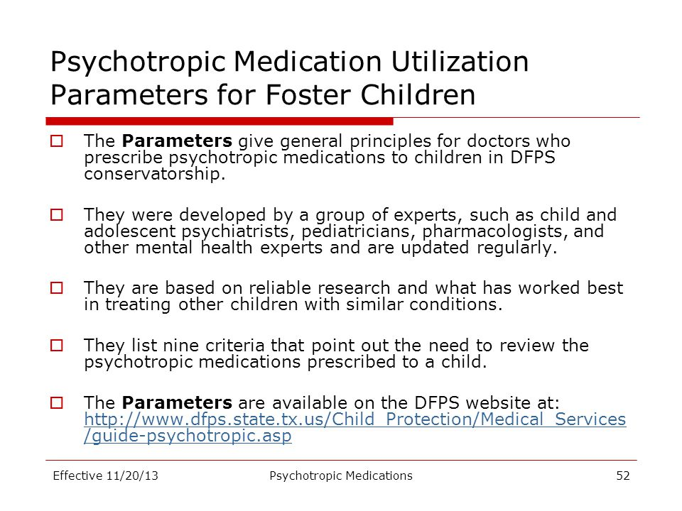 Psychotropic Medication Utilization Parameters for Foster Children