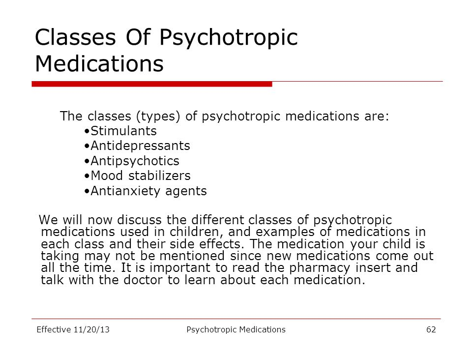 Classes Of Psychotropic Medications