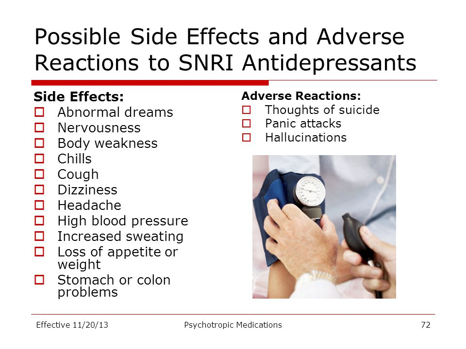 Possible Side Effects and Adverse Reactions to SNRI Antidepressants