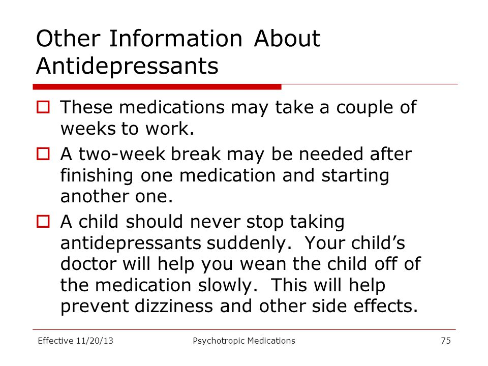 Other Information About Antidepressants