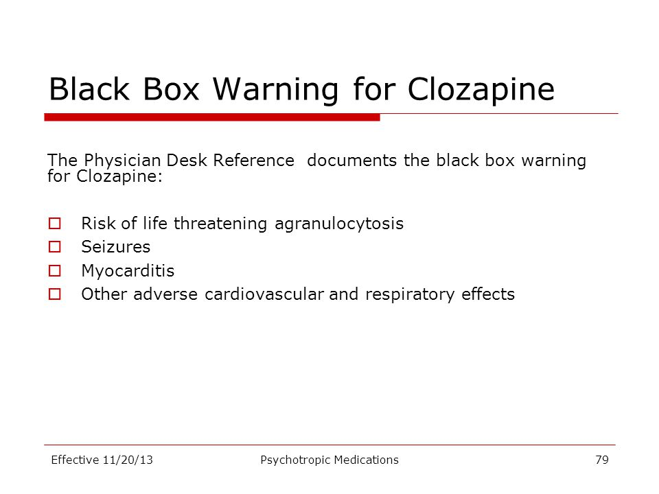 Black Box Warning for Clozapine