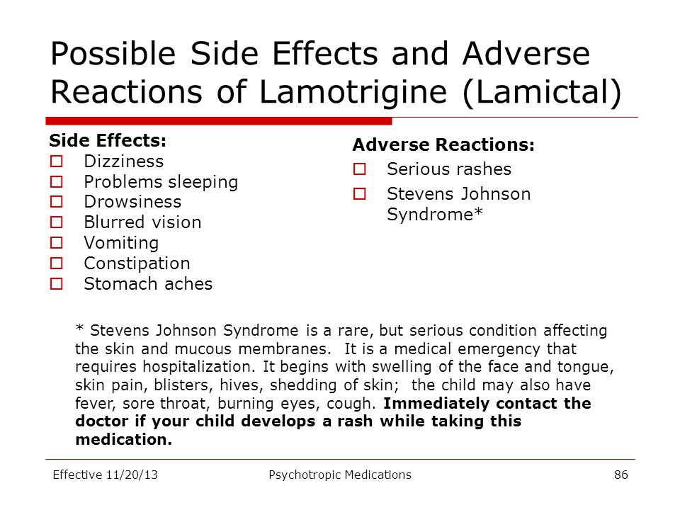 Possible Side Effects and Adverse Reactions of Lamotrigine (Lamictal)