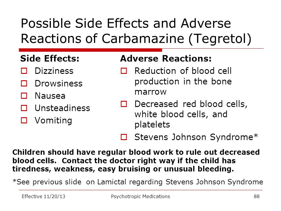 Possible Side Effects and Adverse Reactions of Carbamazine (Tegretol)
