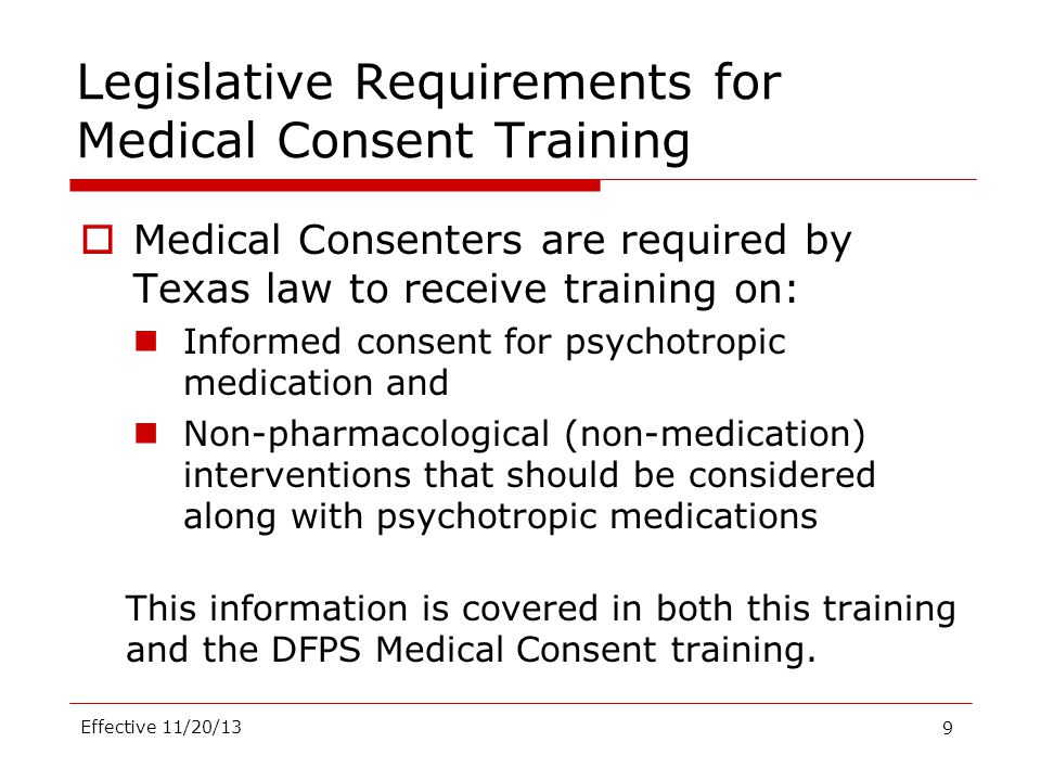 Legislative Requirements for Medical Consent Training