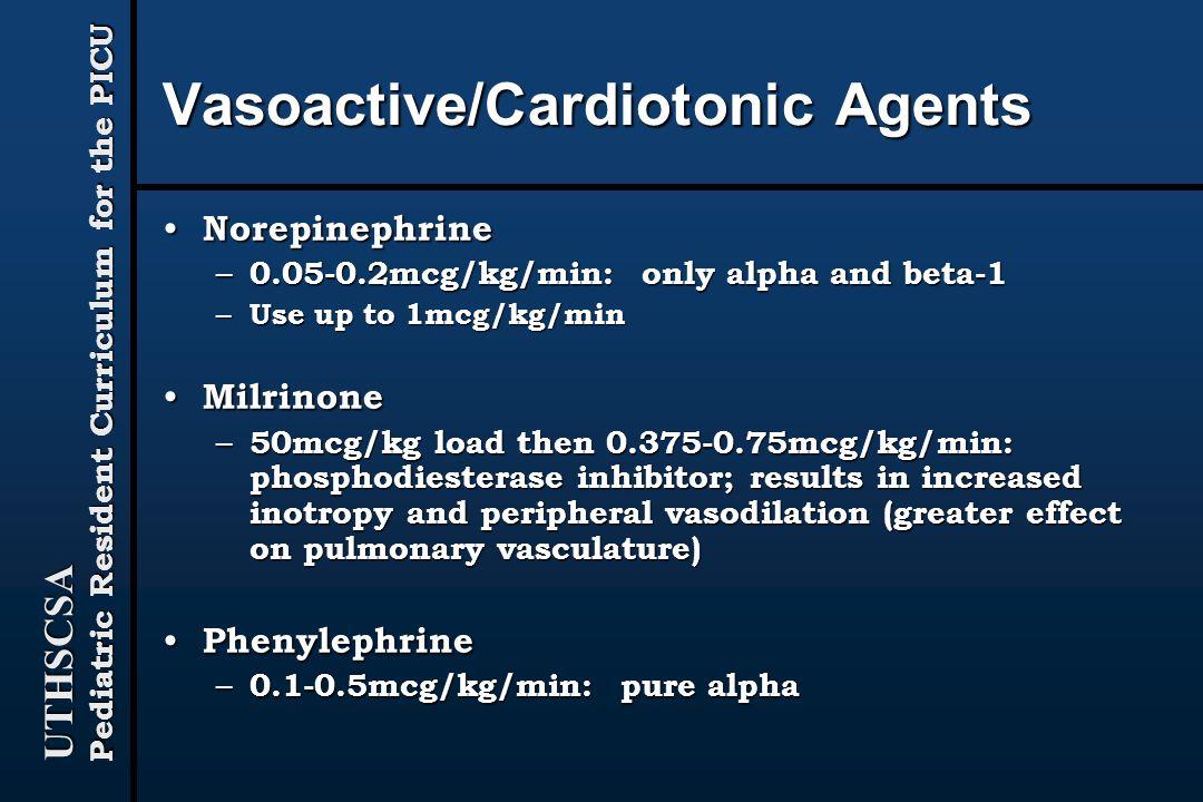 Vasoactive/Cardiotonic Agents