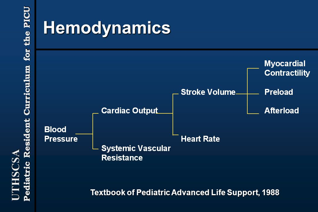 Hemodynamics Textbook of Pediatric Advanced Life Support, 1988