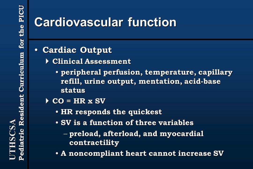 Cardiovascular function