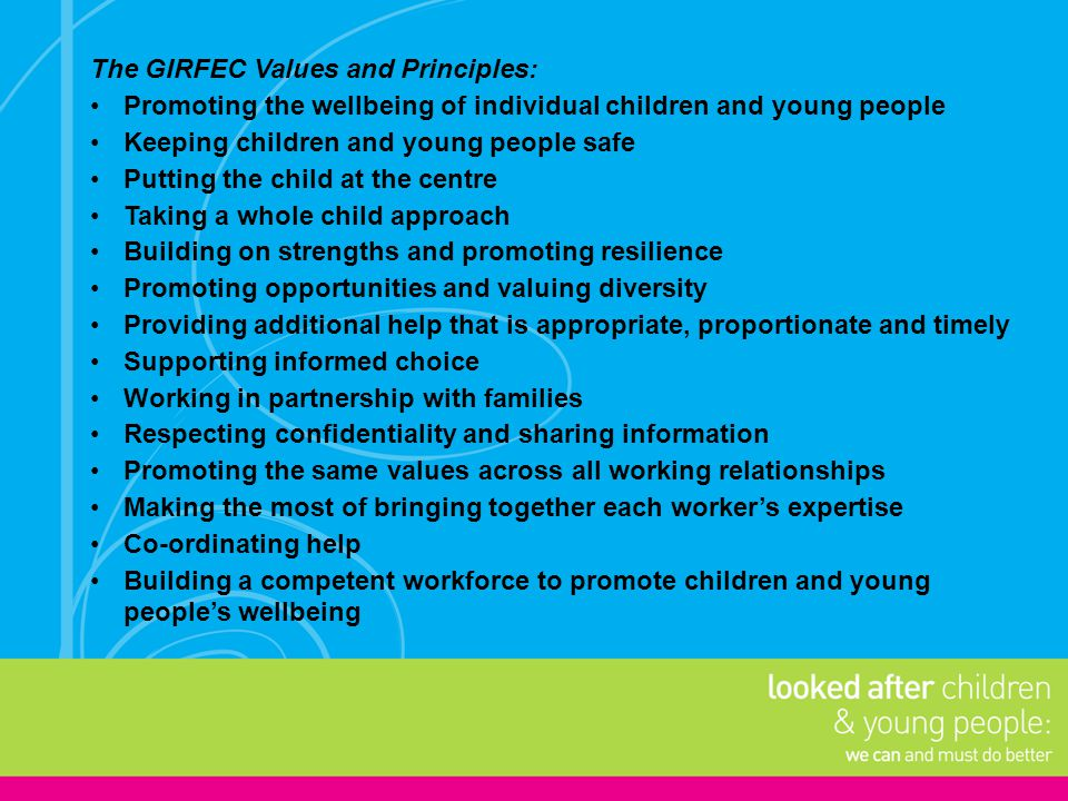 The GIRFEC Values and Principles: