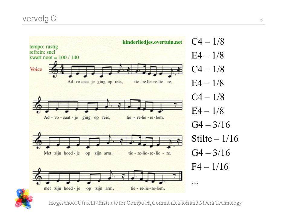 C4 – 1/8 E4 – 1/8 G4 – 3/16 Stilte – 1/16 F4 – 1/16 ...
