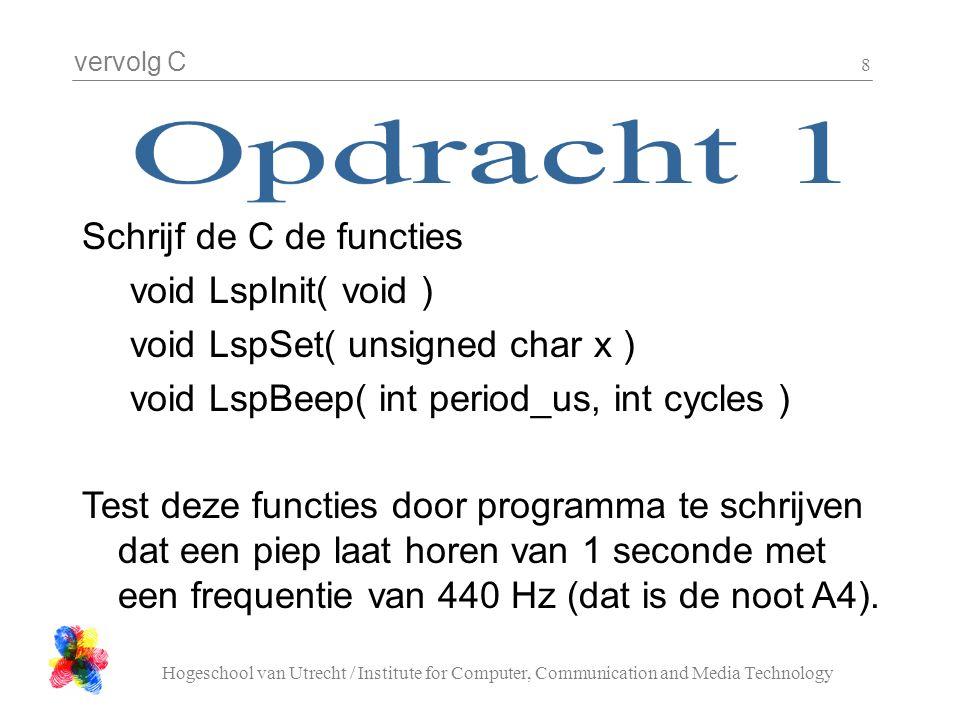 Schrijf de C de functies void LspInit( void )