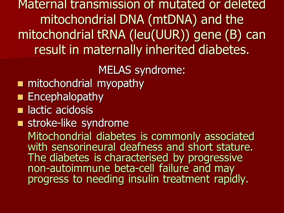 Maternal transmission of mutated or deleted mitochondrial DNA (mtDNA) and the mitochondrial tRNA (leu(UUR)) gene (B) can result in maternally inherited diabetes.