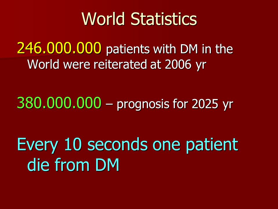 Every 10 seconds one patient die from DM