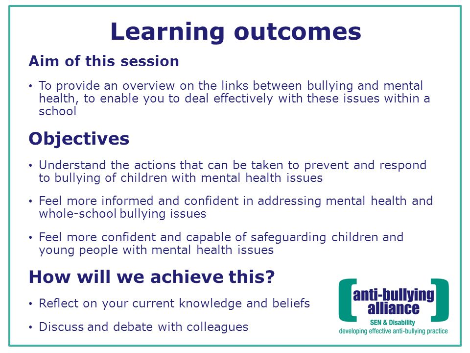 Learning outcomes Objectives How will we achieve this