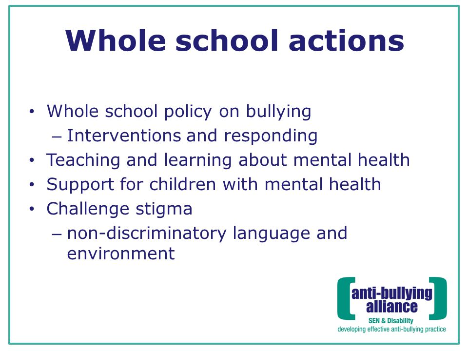 Whole school actions Whole school policy on bullying