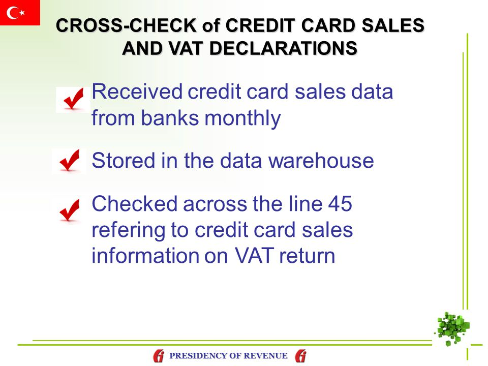 CROSS-CHECK of CREDIT CARD SALES AND VAT DECLARATIONS
