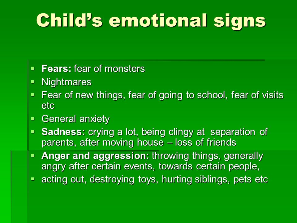 Child's emotional signs