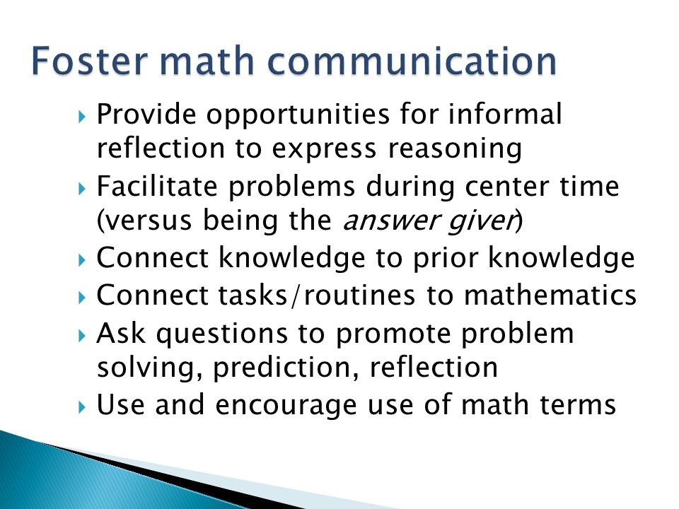Foster math communication