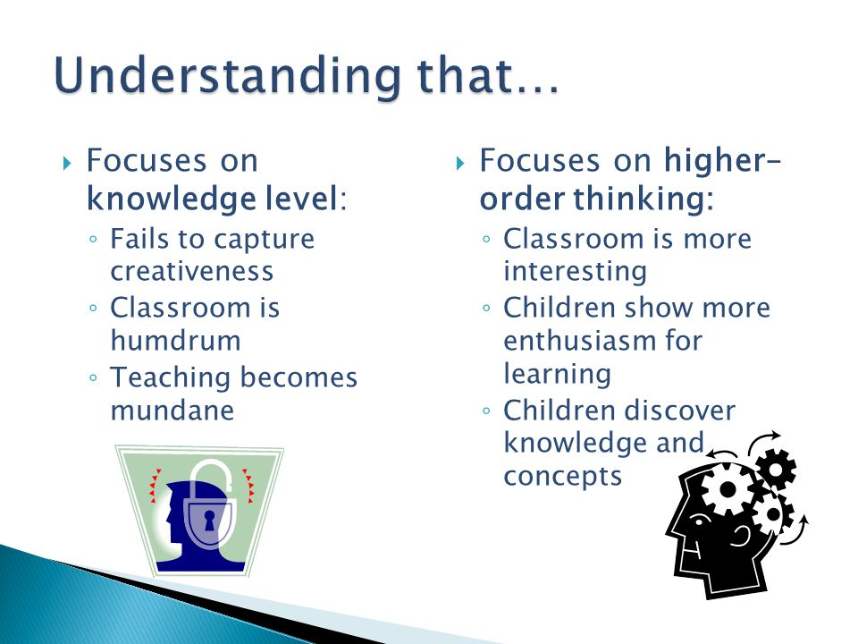 Understanding that… Focuses on knowledge level: