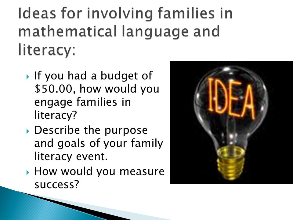 Ideas for involving families in mathematical language and literacy:
