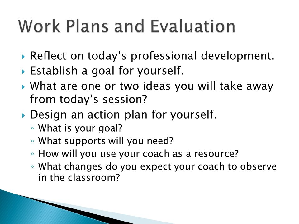 Work Plans and Evaluation