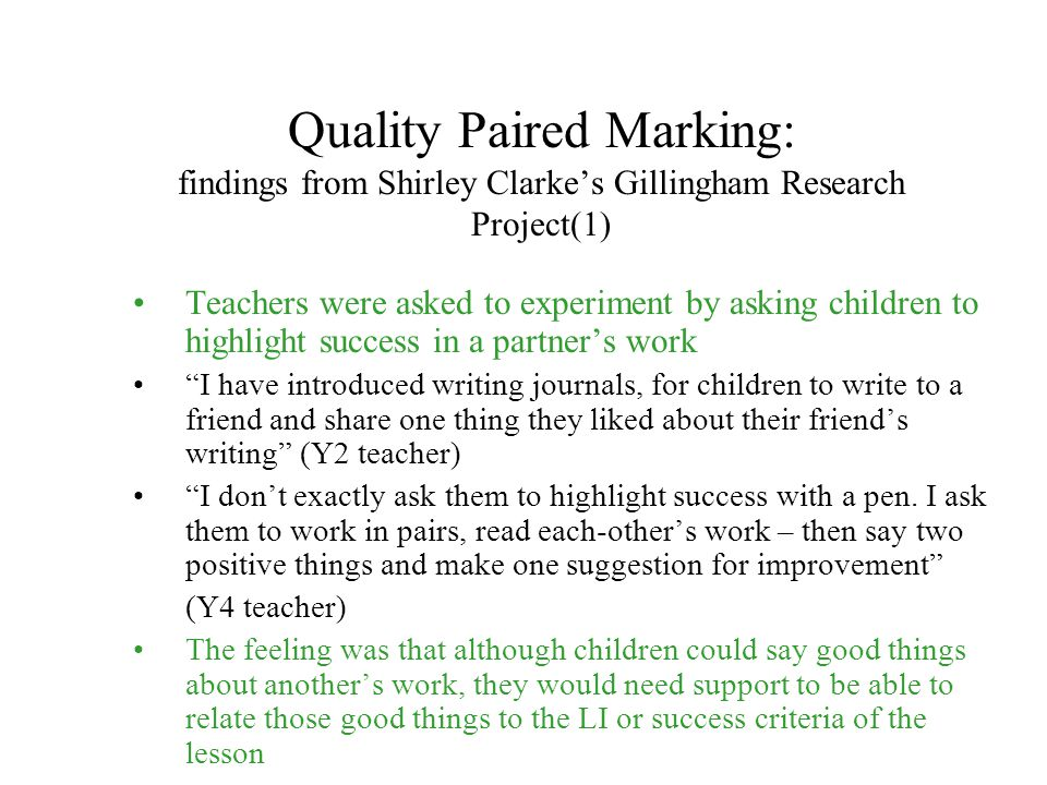 Quality Paired Marking: findings from Shirley Clarke's Gillingham Research Project(1)