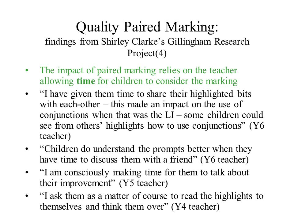 Quality Paired Marking: findings from Shirley Clarke's Gillingham Research Project(4)