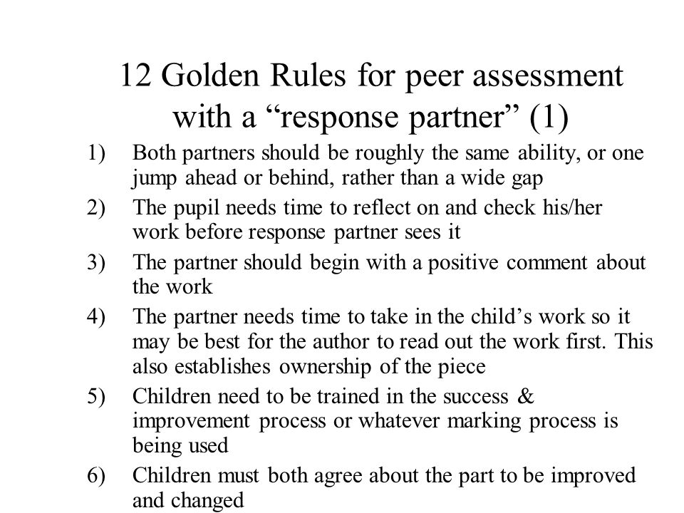 12 Golden Rules for peer assessment with a response partner (1)