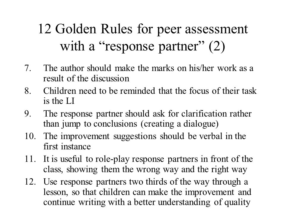 12 Golden Rules for peer assessment with a response partner (2)
