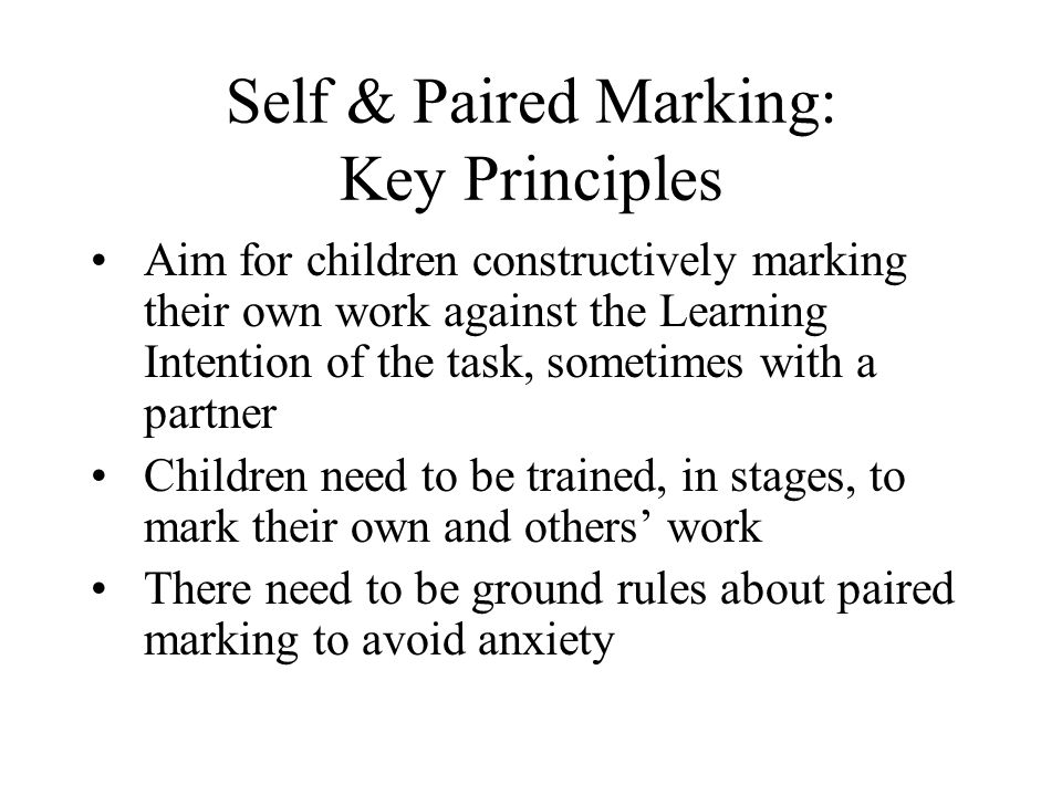 Self & Paired Marking: Key Principles