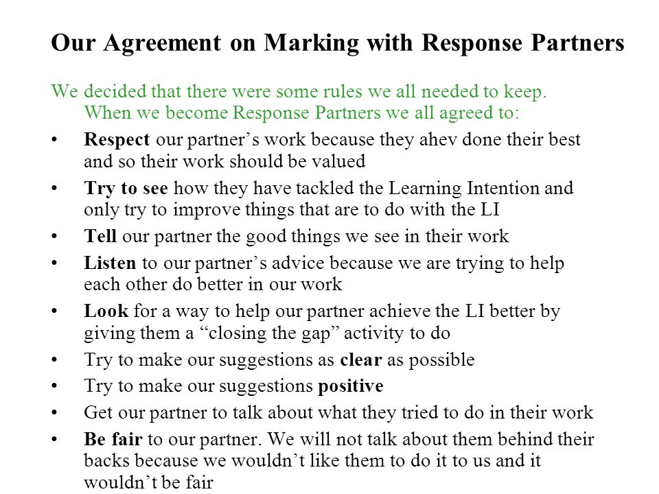 Our Agreement on Marking with Response Partners