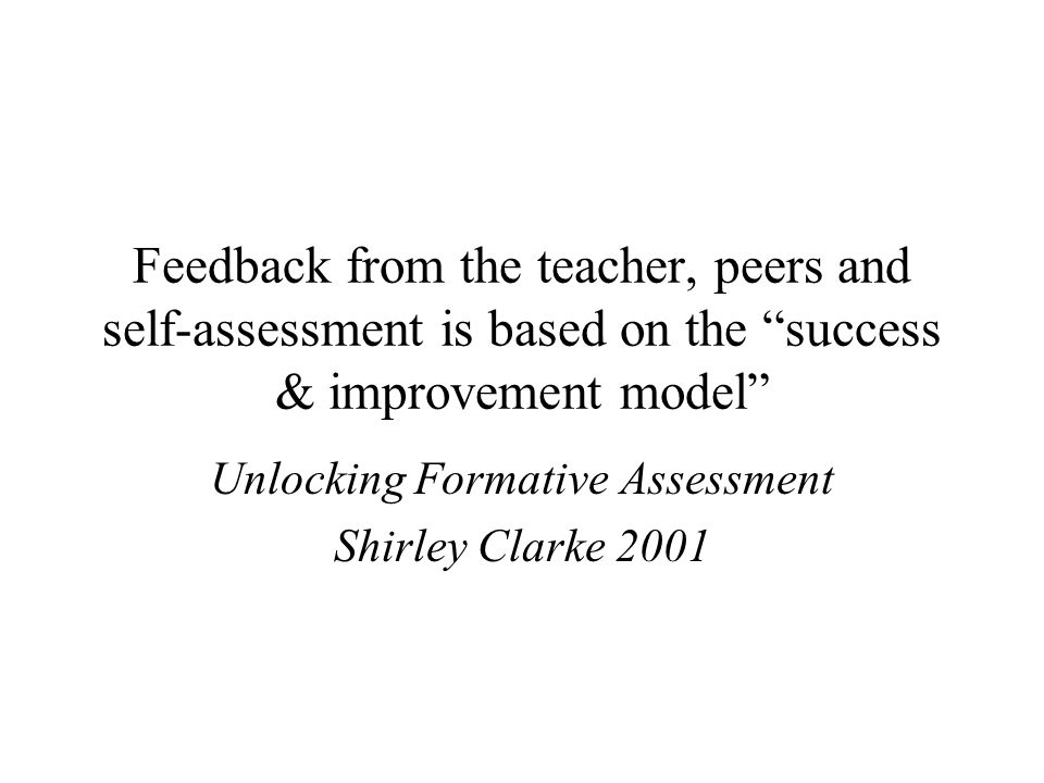 Unlocking Formative Assessment Shirley Clarke 2001