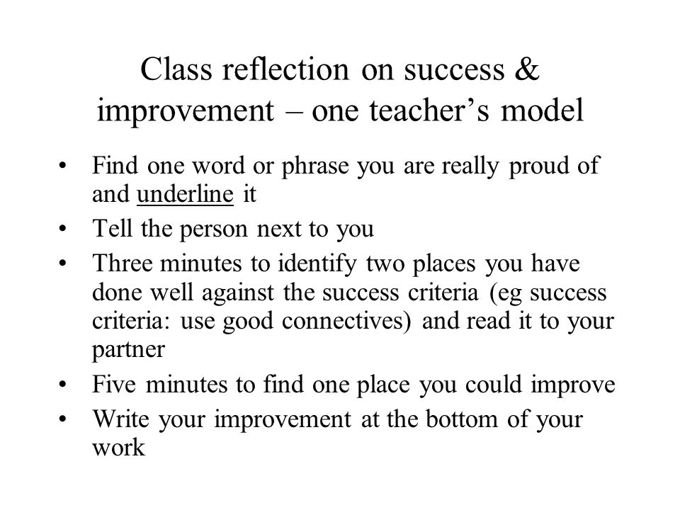 Class reflection on success & improvement – one teacher's model