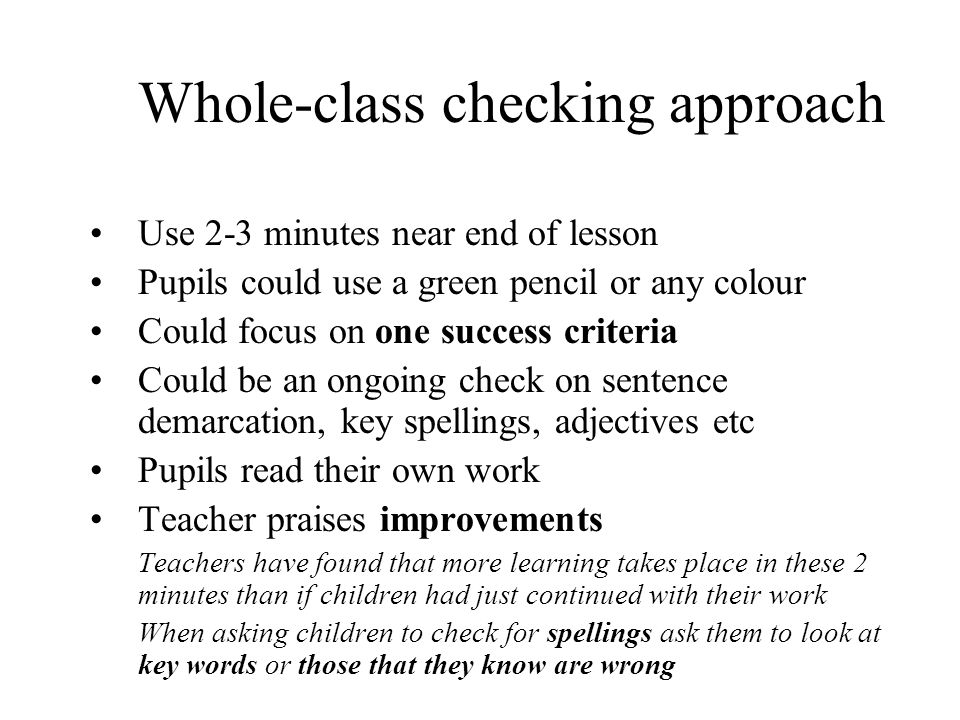 Whole-class checking approach
