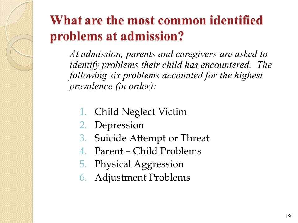 What are the most common identified problems at admission