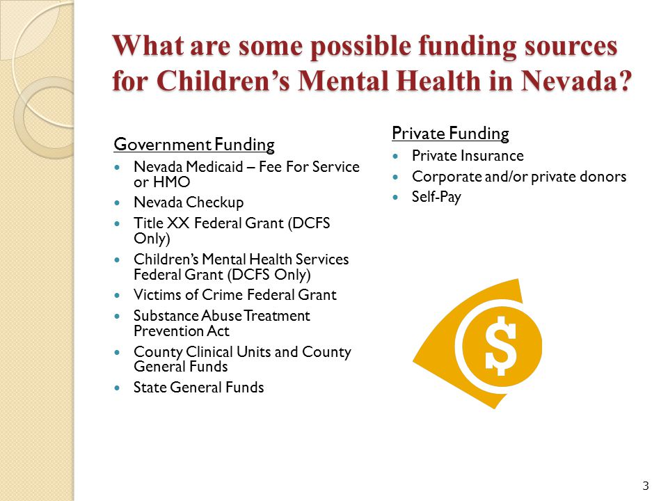 What are some possible funding sources for Children's Mental Health in Nevada