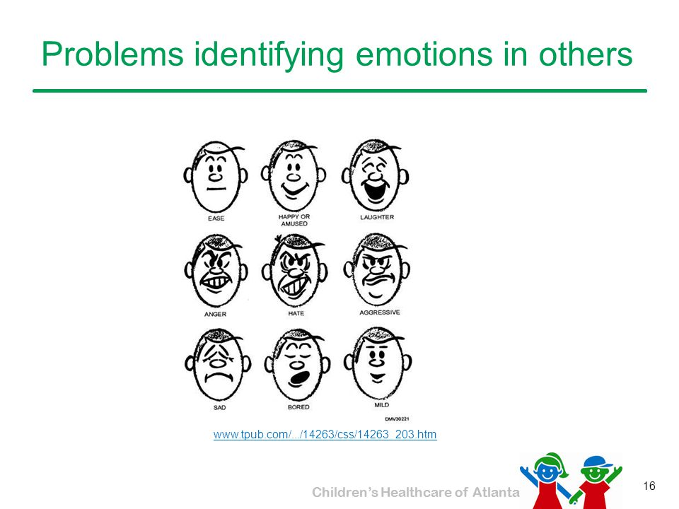 Problems identifying emotions in others
