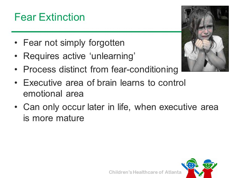 Fear Extinction Fear not simply forgotten Requires active 'unlearning'