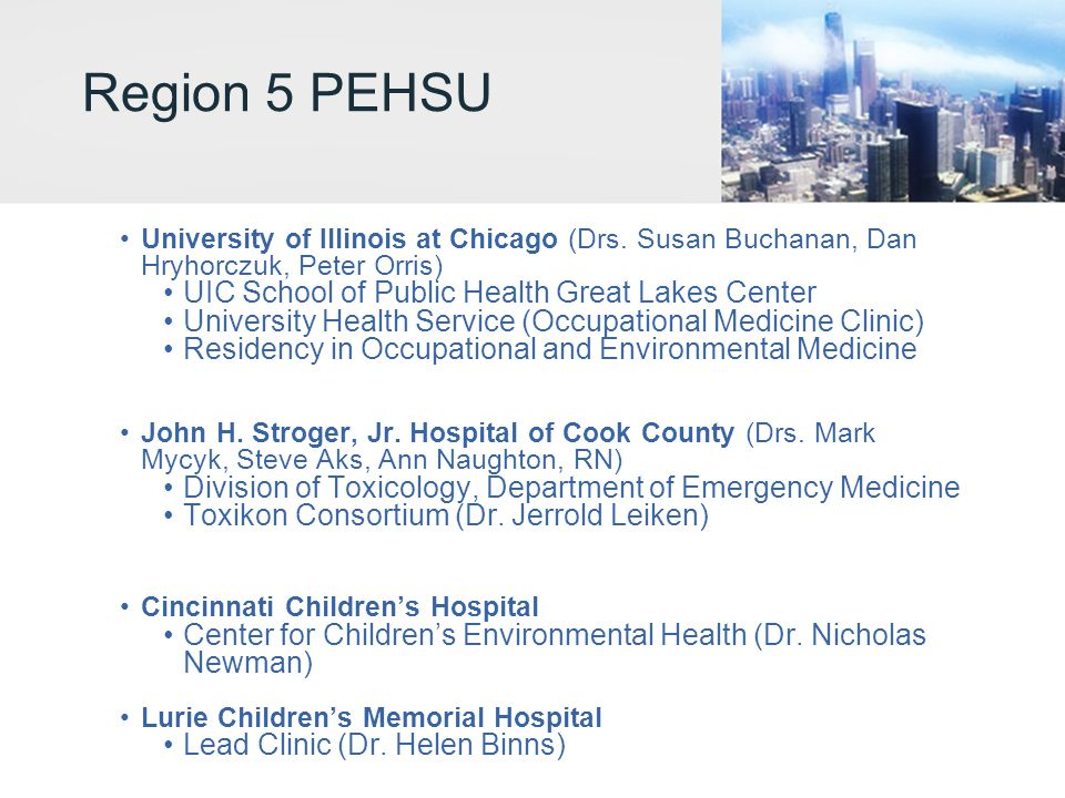 Region 5 PEHSU UIC School of Public Health Great Lakes Center