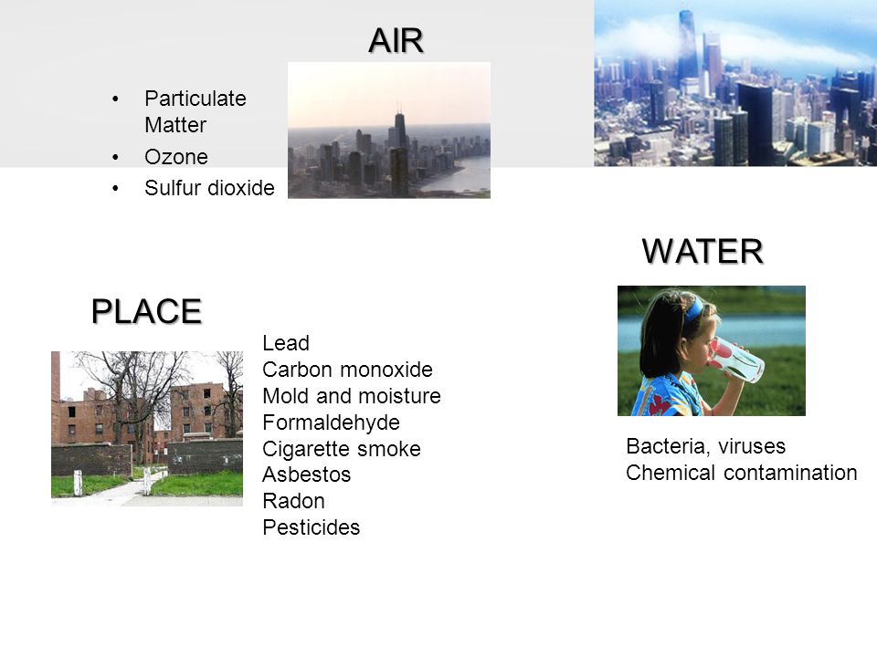 AIR WATER PLACE Particulate Matter Ozone Sulfur dioxide Lead