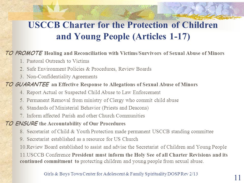 USCCB Charter for the Protection of Children and Young People (Articles 1-17)