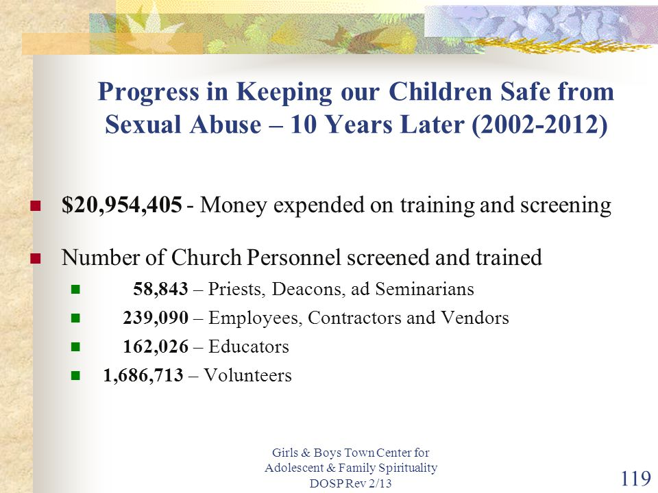 Progress in Keeping our Children Safe from Sexual Abuse – 10 Years Later (2002-2012)