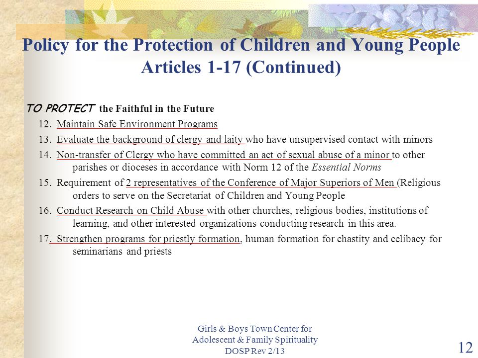 Policy for the Protection of Children and Young People Articles 1-17 (Continued)