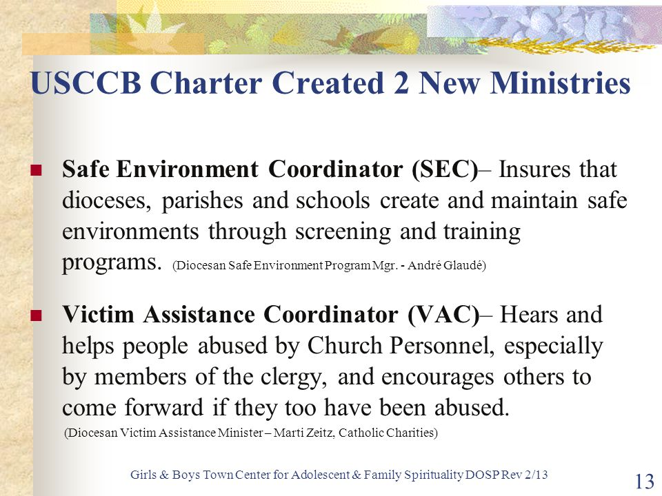 USCCB Charter Created 2 New Ministries