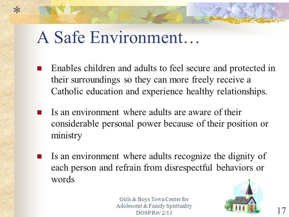 * A Safe Environment…